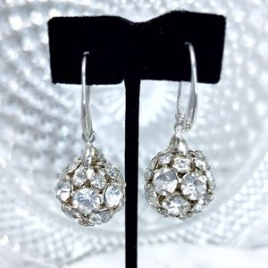 Rhinestone Ball Drop Formal Bridal Prom Earrings